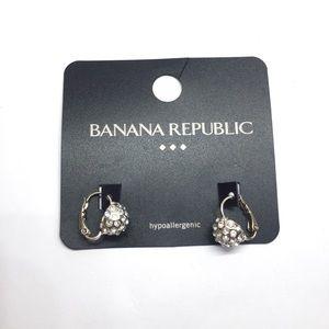 NWT Banana Republic Crystal Silver Earrings